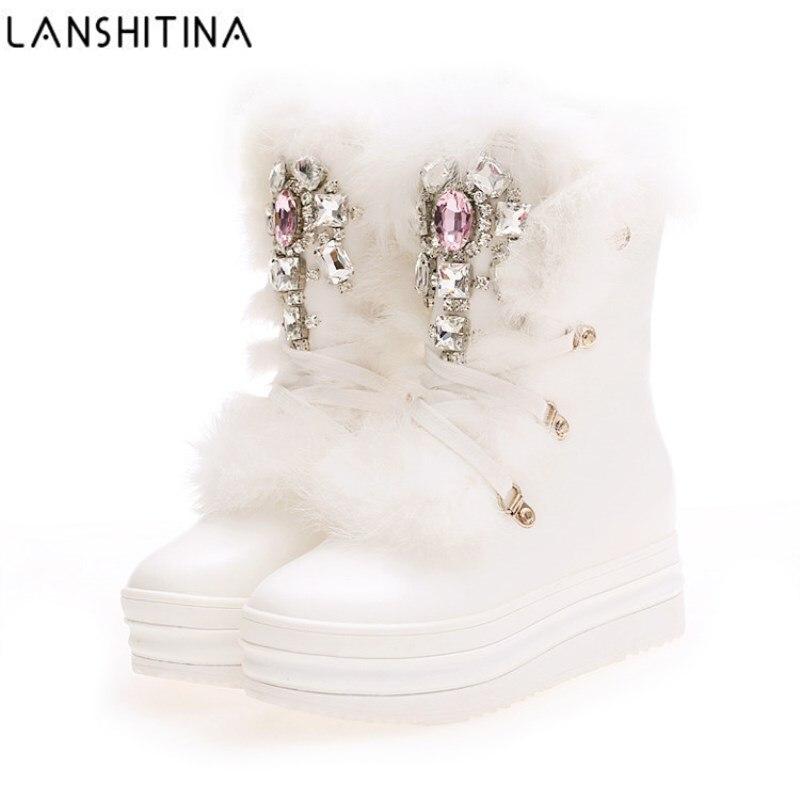 2018 NEW Real Rabbit Fur Winter Boots Rhinestones Diamond Sn