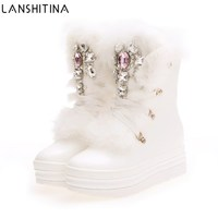 2018 NEW Real Rabbit Fur Winter Boots Rhinestones Diamond Snow Boots Thick Warm High Top Women Shoes Large Size 41 Winter Boots