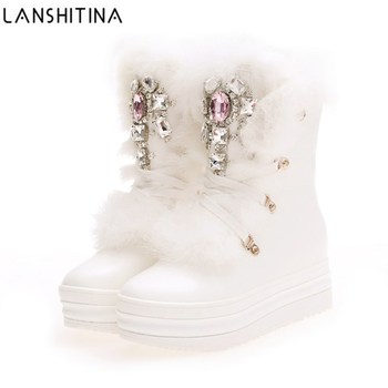 2019 NEW Real Rabbit Fur Winter Boots Rhinestones Diamond Snow Boots Thick Warm High-Top Women Shoes Large Size 41 Winter Boots