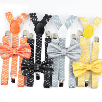 Man Belt Knitted Bow Tie Set Woman Men's Suspenders Butterfly Clip-on Y-Back Braces Suit Elastic Women Adjustable Suiting