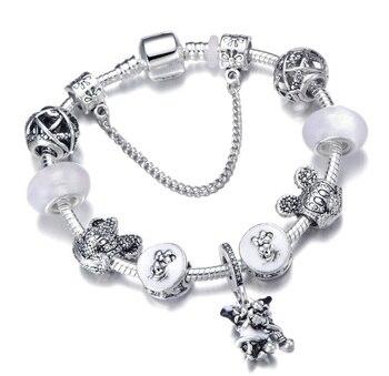 Cute Mickey Mouse Themed Bracelet Bracelets Jewelry New Arrivals Women Jewelry Metal Color: 19 Length: 18cm