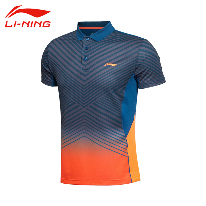 Li-Ning Men's Professional Badminton Jersey Li Ning Breathable Stripe Quick Dry Short Sleeve Sports Polo AAYK299