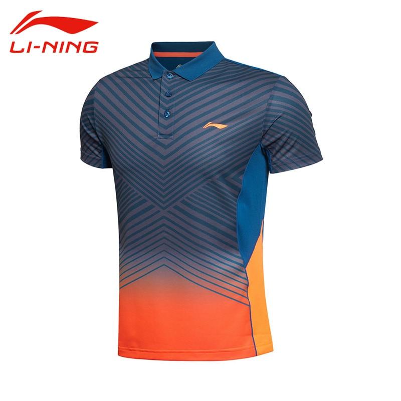 Li-Ning Mens Professional Badminton Jersey Li Ning Breathable Stripe Quick Dry Short Sleeve Sports Polo AAYK299