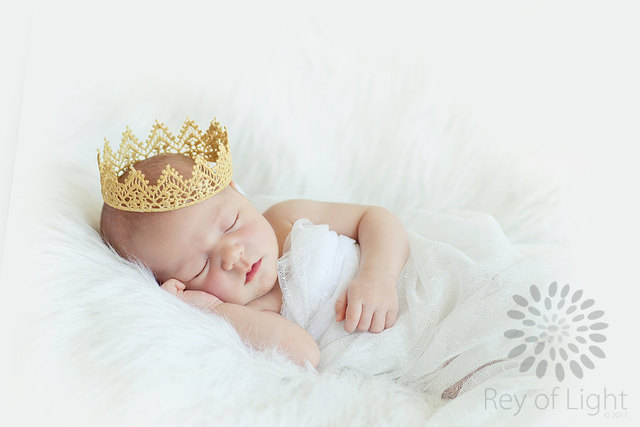 Little gold lace crown newborn photography prop baby crown lace crown infant
