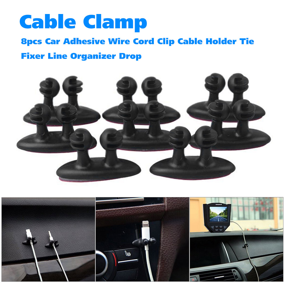 8pcs Car Adhesive Wire Cord Clip Cable Holder Tie Fixer Line Organizer Drop