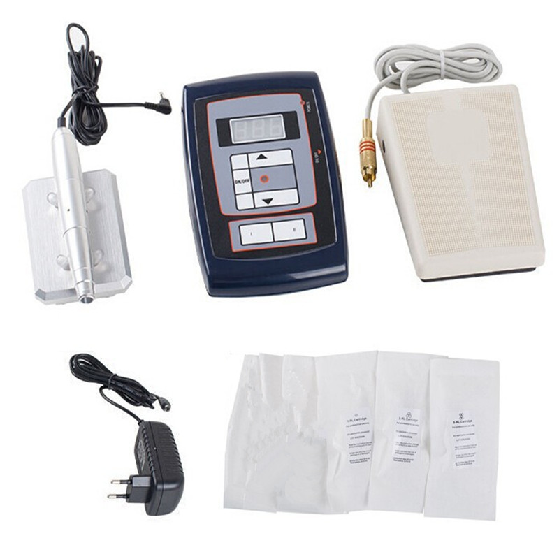 Permanent Makeup Tattoo Pen Machine Eyebrow Rotary Tattoo Pen Machine Kit +30 Needles+ LCD Power Supply Complete Tatto