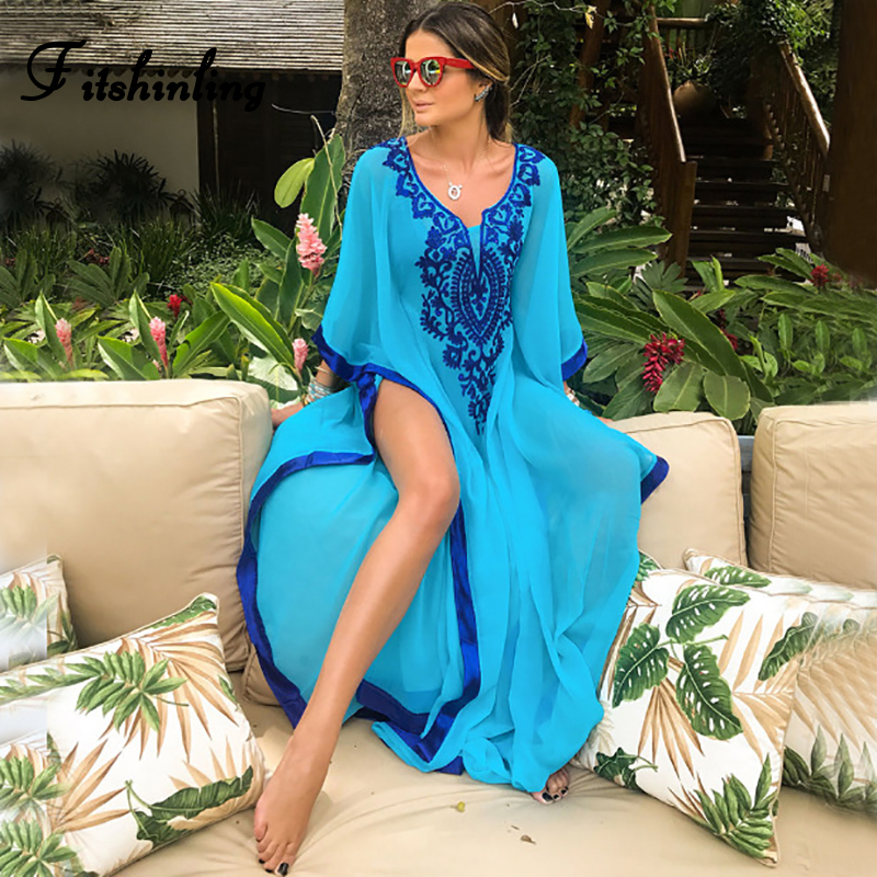 Fitshinling Embroidery Chiffon Long Dress Swimwear 2019 Summer Oversized Floral Robe Side Slit Sexy Beach Maxi Dresses Pareos
