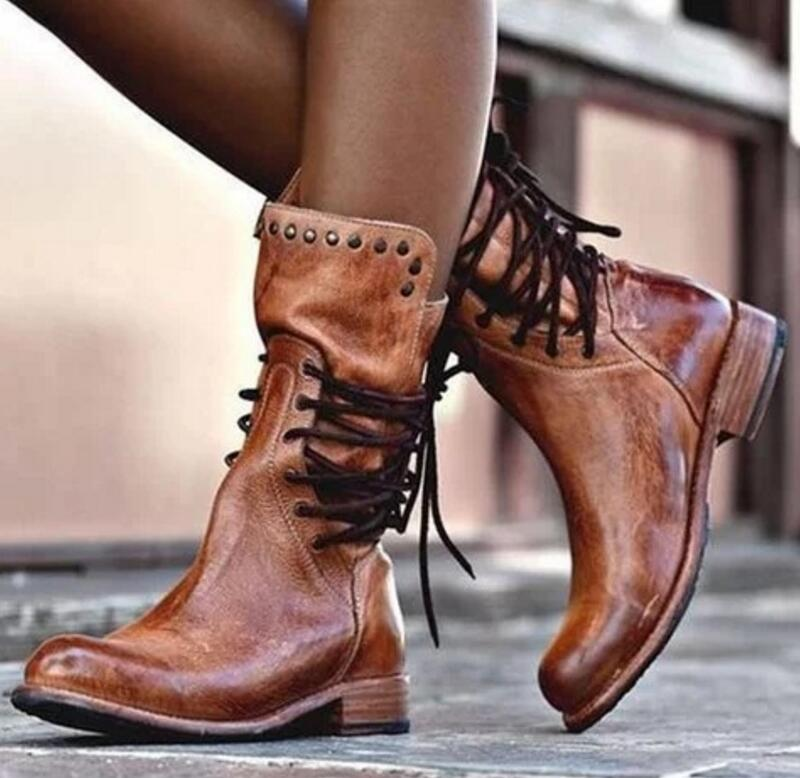 sapato women mid-calf matin boots ladies chaussure girl vintage PU leather booties shoes woman warm lace up sapato women mid-calf matin boots ladies chaussure girl vintage PU leather booties shoes woman warm lace up