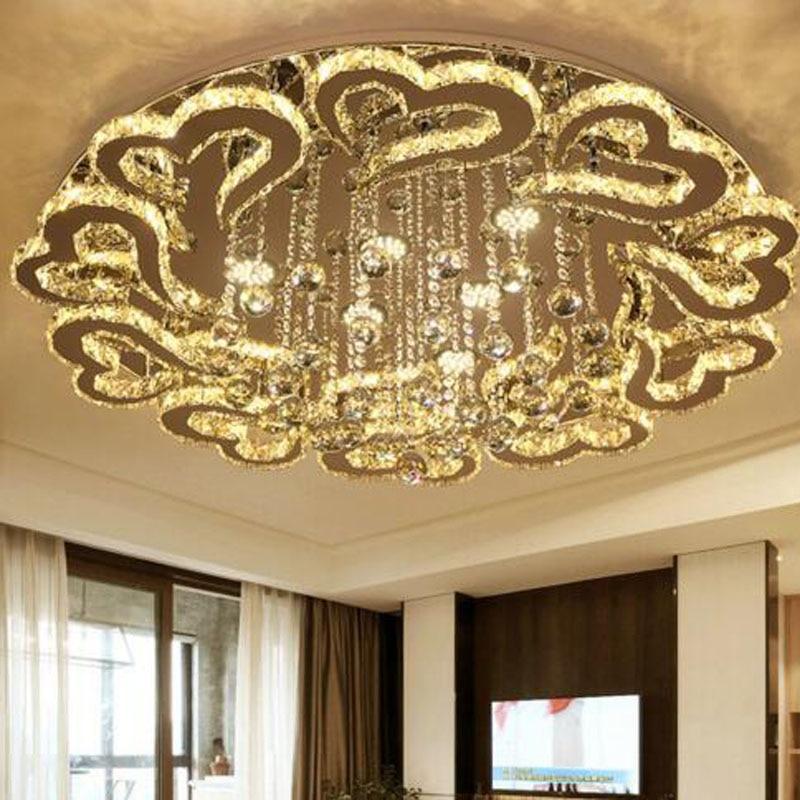 Modern minimalist LED crystal lighting living room round atmospheric luxury bedroom restaurant heart shaped stepless dimming LED