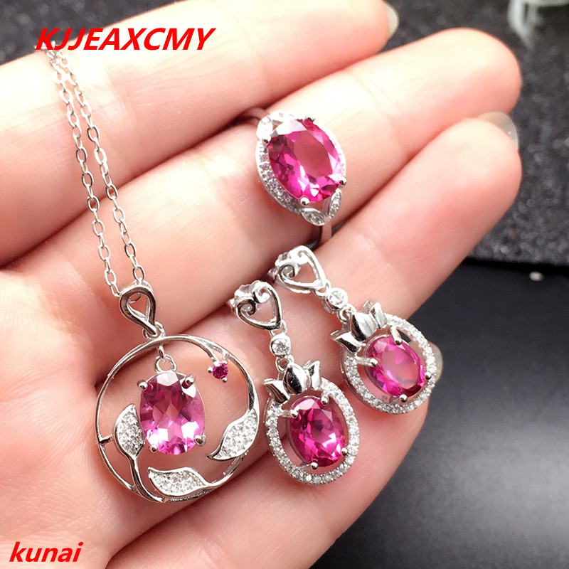 KJJEAXCMY boutique jewels 925 silver inlay natural Pink Topaz Ring Pendant Earrings 3 suit jewelry necklace sent kjjeaxcmy boutique jewels 925 silver inlay natural pink topaz ring pendant earrings bracelet 4 suit jewelry necklace sen