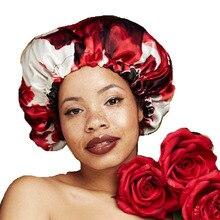Women Double layer Silky DU-RAG Hair Cover Accessories Wave Caps Rags floral  Bonnet Salon Hat Turban Durag doo rag Headwrap