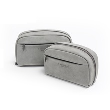 Grey Cosmetic Bag Small Makeup Bags Soft Portable Storage bag (20*12*5cm and 16*11*4.8cm)