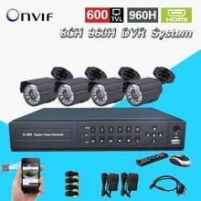 TEATE 8 Canal cctv Sistema de câmera De Segurança com DVR 4 pcs 600TVL Câmera de vídeo Kit sistema de vigilância 8ch dvr 960 h NVR CK-189