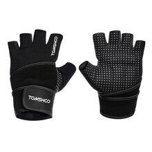 TOMSHOO перчатки для тренажерного зала с поддержкой запястья для мужчин и женщин для бодибилдинга Спортивные Перчатки для фитнеса Тяжелая атлетика тренировочные перчатки с обрезанными пальцами