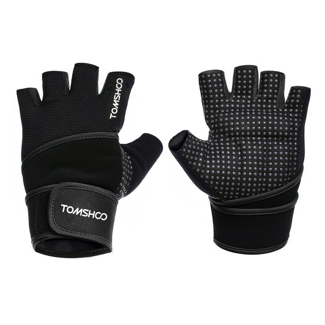 TOMSHOO Gym Gloves With Wrist Support Men Women Body Building Sports Fitness WeightLifting Gloves Exercise Gym Glove Half Finger