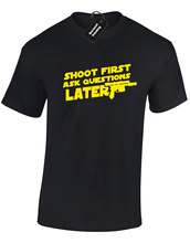 SHOOT FIRST ASK LATER MENS T SHIRT FUNNY HAN STAR SOLO WARS SKYWALKER JEDI TOP Youth  T-Shirts free shipping