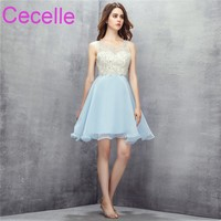 Ice Blue Short Cocktail Dresses 2018 Sleeveless Beaded Top Sexy Open Back Teens Semi Formal Prom
