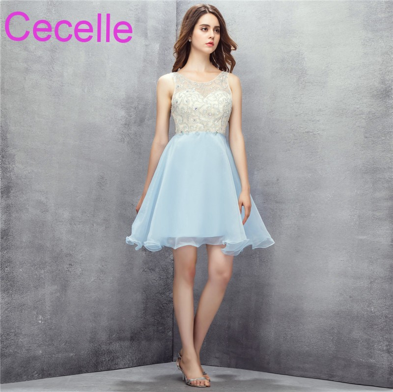 Ice Blue Short Cocktail Dresses 2018 Sleeveless Beaded Top Sexy Open Back Teens Semi Formal Prom Party Gowns Real Photos New