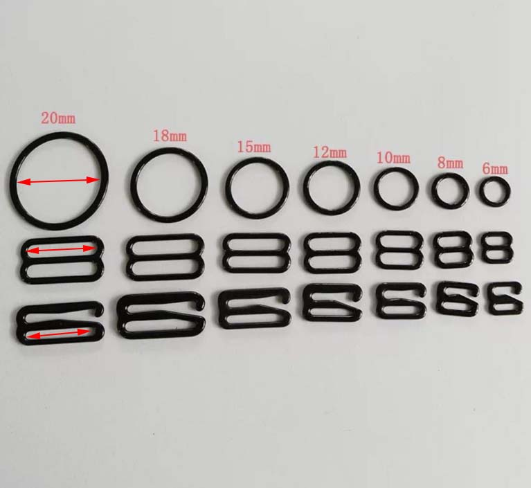 80 Black Bra Strap Adjuster Clips 11 mm Sliders Fig 8 Bra Accessories Solutions