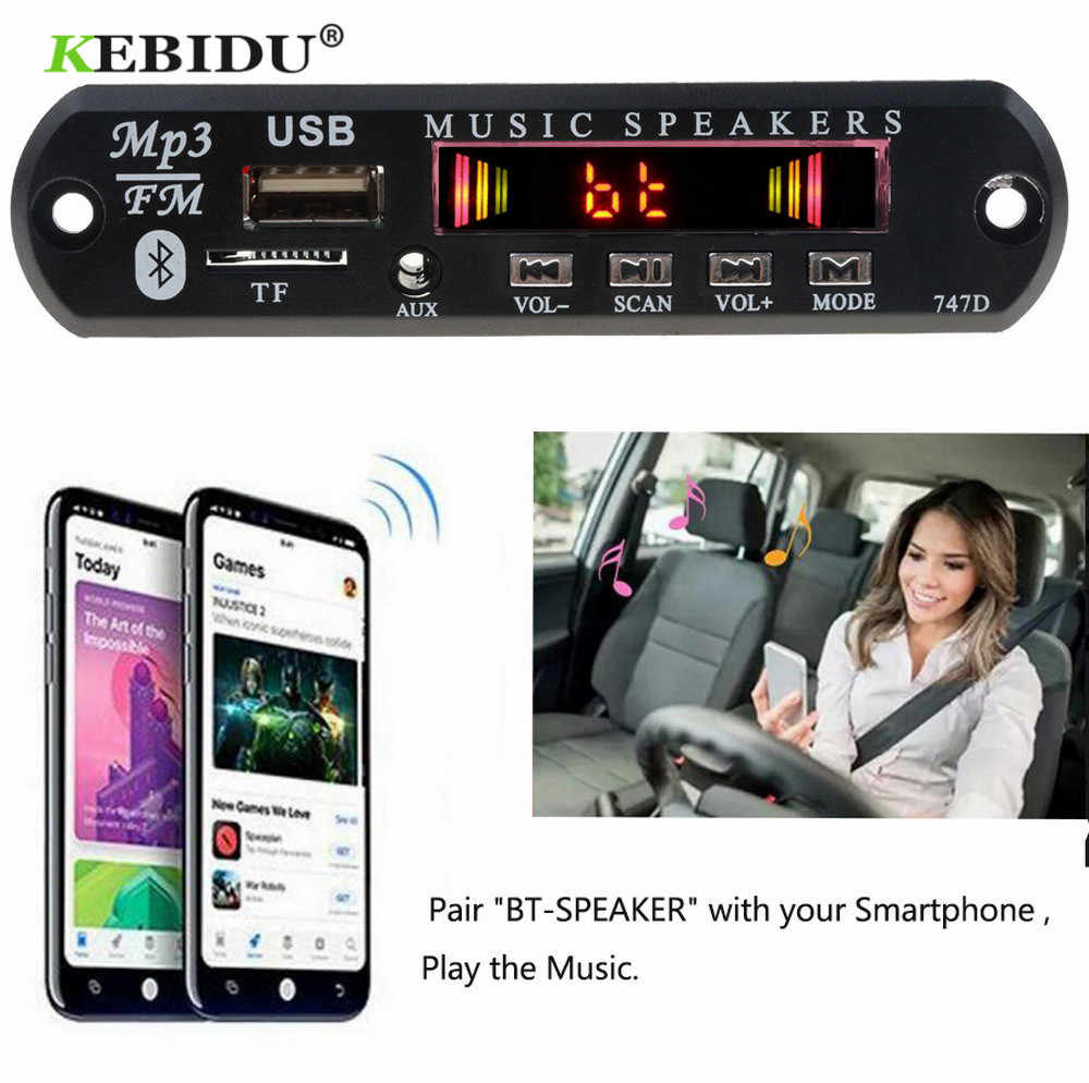 KEBIDU بلوتوث استقبال مشغل MP3 فك مجلس FM راديو TF USB 3.5 مللي متر AUX وحدة الصوت آيفون 8 XS شياو mi mi