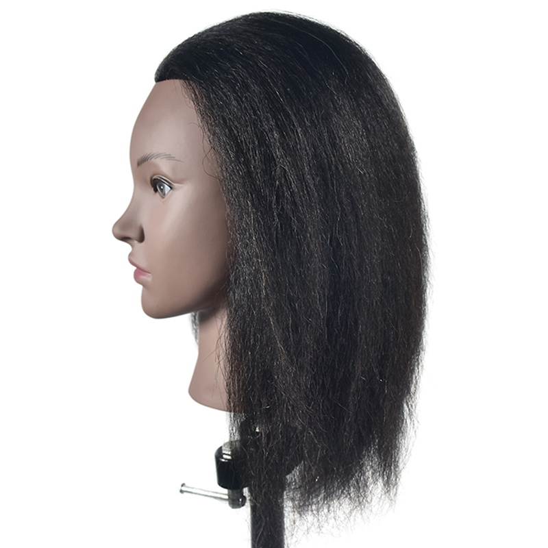 Cosmetology Afro Mannequin Head with Hair for Braiding Cornrow Practice Head Training Mannequin Dummy Heads