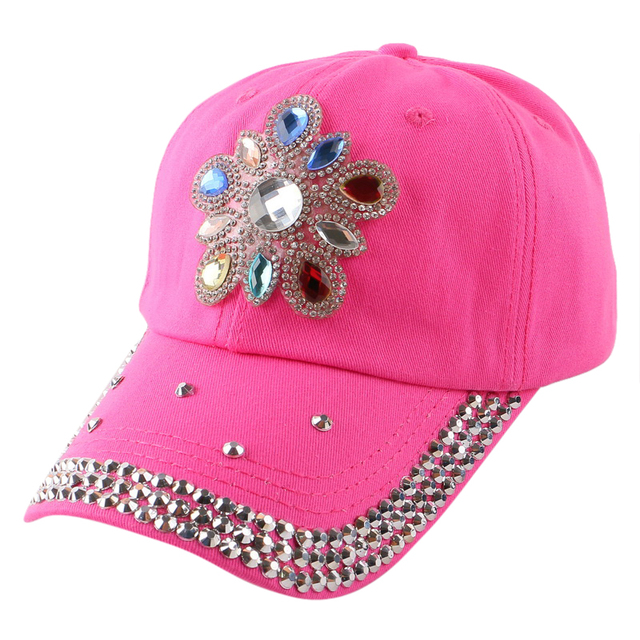 new women promotion cheap popular snapback fuchsia red pink denim  rhinestone floral pretty baseball cap summer 4e7d10bef102