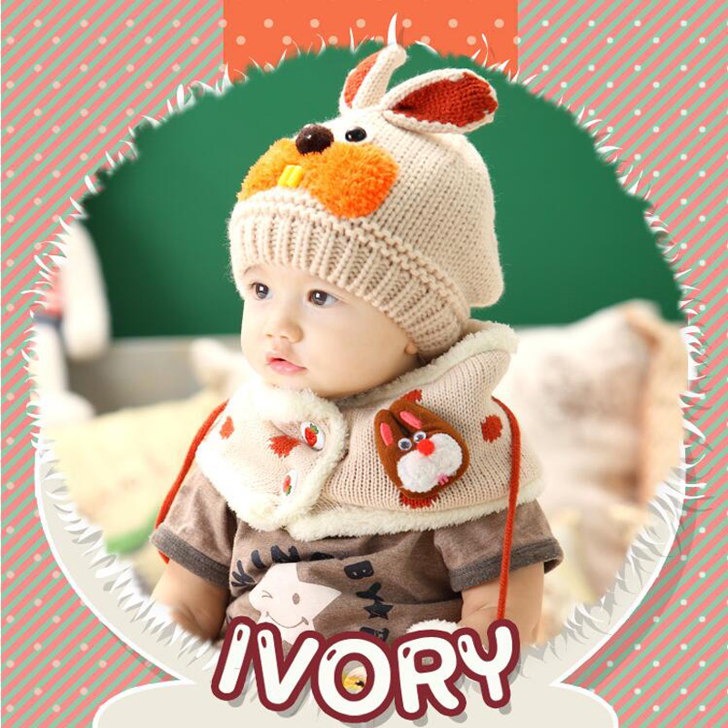 OSTIA 2018 hat and scarf set baby winter cap rabbit knit beanie bonnet warm hats for children neck warmer photography props H14