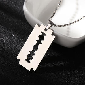 Choker Jewelry Pendant Razor-Blade Dogtag Necklace Gifts Stainless-Steel Hip-Hop New-Fashion