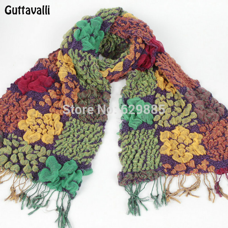 Fashion Women Colorful Acrylic Long Scarves Big Small Flower Shawl Square Chevron Knit Stripe Acrylic Scarf