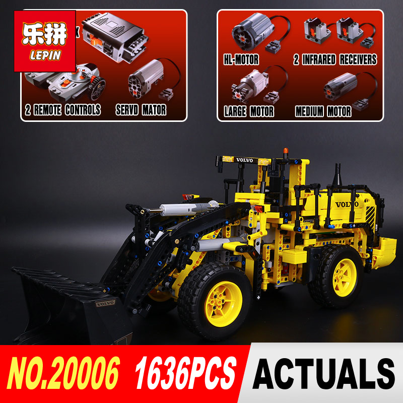 LEPIN 20006 technic series 1636pcs Volvo L350F wheel loader Model Building blocks Bricks Compatible 42030 boy gift car Toys lepin 20006 technic series volvo l350f wheel loader model building kit blocks bricks compatible with toy 42030