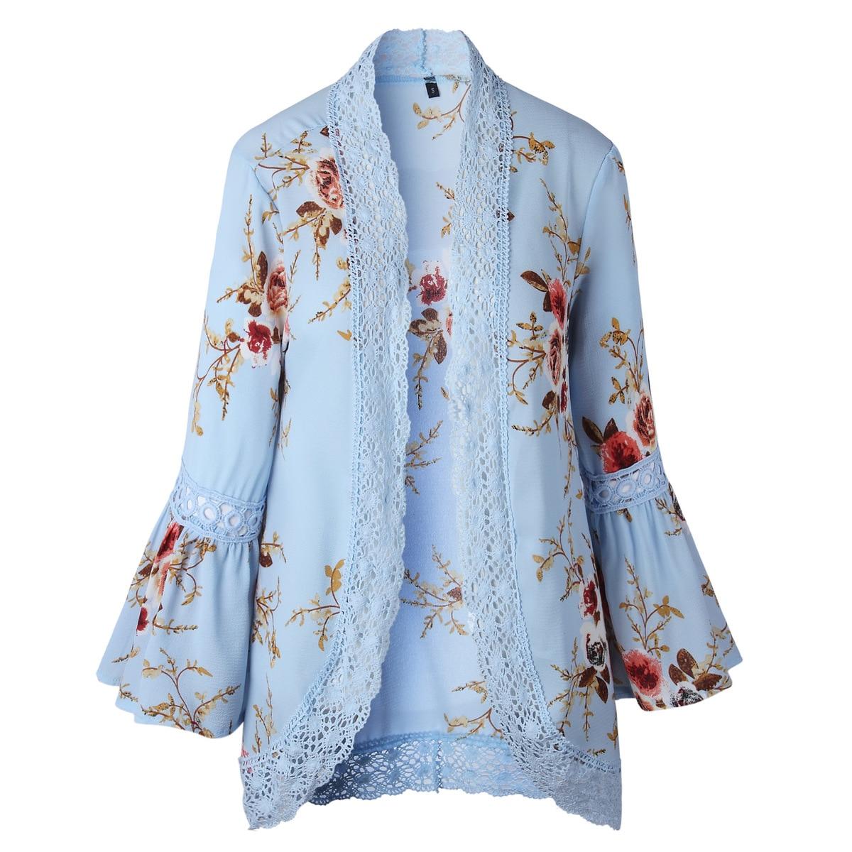 HTB1uDKivZuYBuNkSmRyq6AA3pXaA Women Plus Size Loose Casual Basic Jackets Female 2018 Autumn Long Flare Sleeve Floral Print Outwear Coat Open Stitch Clothing