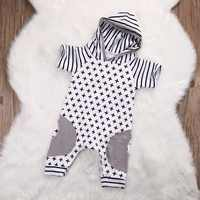 2019 Fashion Newborn Baby Boys Xmas Cotton Short Sleeve Hooded Romper Geometric Striped Jumpsuit Outfits Suit Clothes