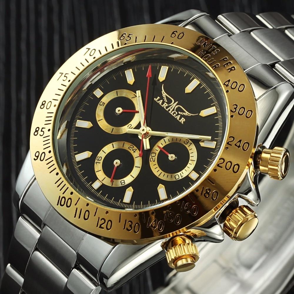 Jaragar Mens Watches Automatic Mechanical Watch Clock Auto Date Golden Case Relogio Masculino new date show mens auto mechanical watch chrono freeship cool