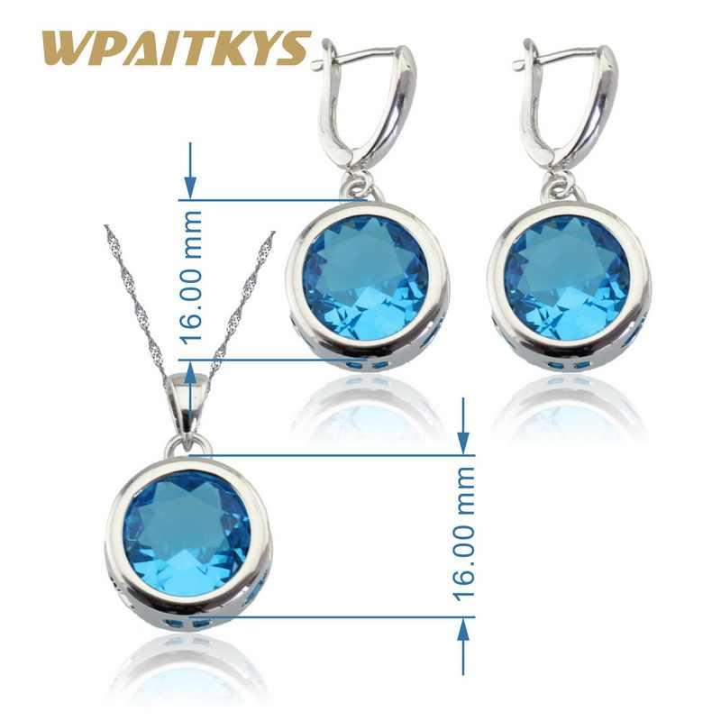 Bulat Langit Biru Kristal 925 Perak Bridal Perhiasan Set untuk Wanita Anting-Anting Kalung Liontin Kotak Hadiah Gratis
