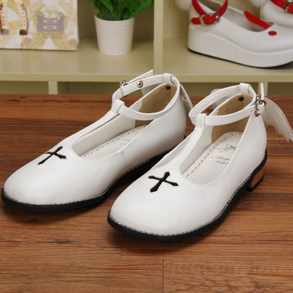 Chaussures Lolita Buckle Japonais Pu8461 Douce Strap toe Croix Angle Ailes Design Plat Custom Princesse Rond n4FExwzx