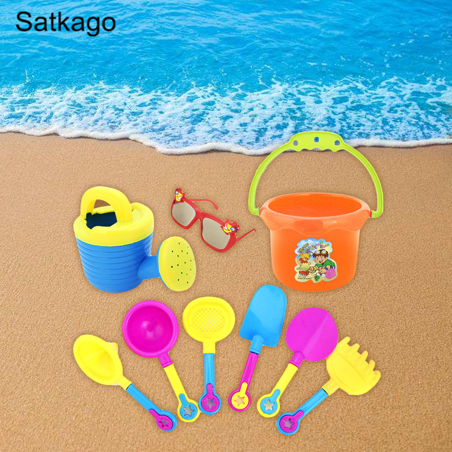 Satkago 9pcs Funny Kid Beach Sand Game Toys Set Shovel Hourglass Bucket Kids Beach Playset Role Play Toy Kit Random Style