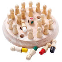 Crianças de madeira jogo de memória vara xadrez divertido bloco jogo de tabuleiro cor educacional capacidade cognitiva brinquedo para crianças
