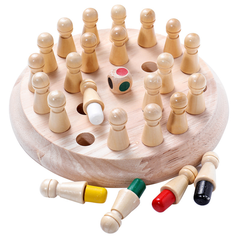 Kids Wooden Memory Match Stick Chess Game Fun Block Board Game Educational Color Cognitive Ability Toy For Children image