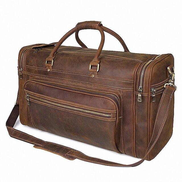Big Capacity Genuine Leather Travel Bag Durable Crazy Horse Leather Travel Duffle Real Leather Large Shoulder Weekend Bag LI2084 2