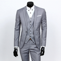 2016 Custom Made Mens Light Grey Suits Jacket Pants Formal Dress Men Suit Set Men Wedding