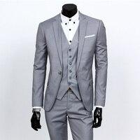 (Kurtka + spodnie + tie) 2017 Custom made Light Grey Garnitury Męskie Kurtka Spodnie Formalne Sukienka Mężczyzn Garnitur Ustawić men ślub suits groom smokingach