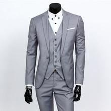 (Куртка + Штаны + галстук) 2017 заказ Для мужчин s светло-серый Костюмы куртка Брюки торжественное платье мужской костюм комплект мужские свадебные костюмы смокинг жениха
