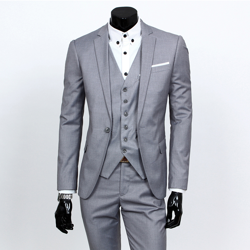 (jacket+pants+tie) 2017 Custom made Mens Light Grey Suits ...