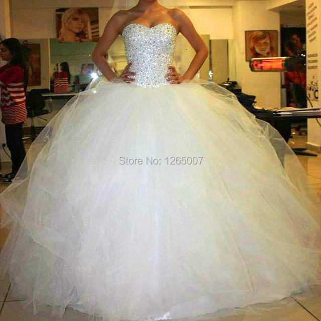 Fashion Sweetheart Sparkly Beaded Diamond Puffy Tulle Ball Gown Princess Wedding Dresses Vestido De Noiva Bridal