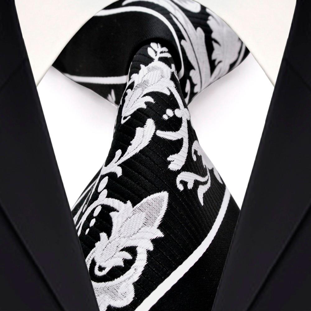 Juodosios baltos juostelės gėlių vyrų kaklaraiščių - Drabužių priedai - Nuotrauka 1