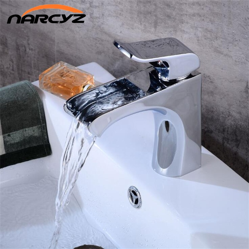 New Basin Faucets Chrome Brass Waterfall Bathroom Bathroom Faucet Square Spout Single Handle Deck Vanity Sink Mixer XT529 цена