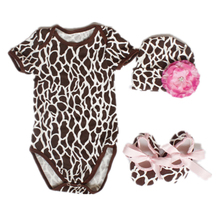 Vestido Newborn Baby Girl Clothes Cotton Deer Stripe Short Sleeve Bodysuits/jumpsuit+toddler Shoes+hat With Flower Clothing Set