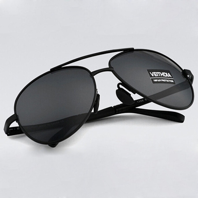 VEITHDIA UV400 Pilot Yurt Sun Glasses Men Polarized Sunglasses Brand Logo Design Driving Glasses Goggles Oculos de sol 1306