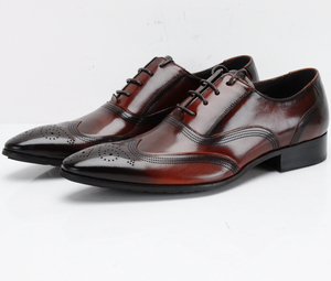 Fashion Black / Brown Tan Oxfords Prom Shoes Mens Business Shoes Genuine Leather Wedding Groom Shoes Male Dress Shoes