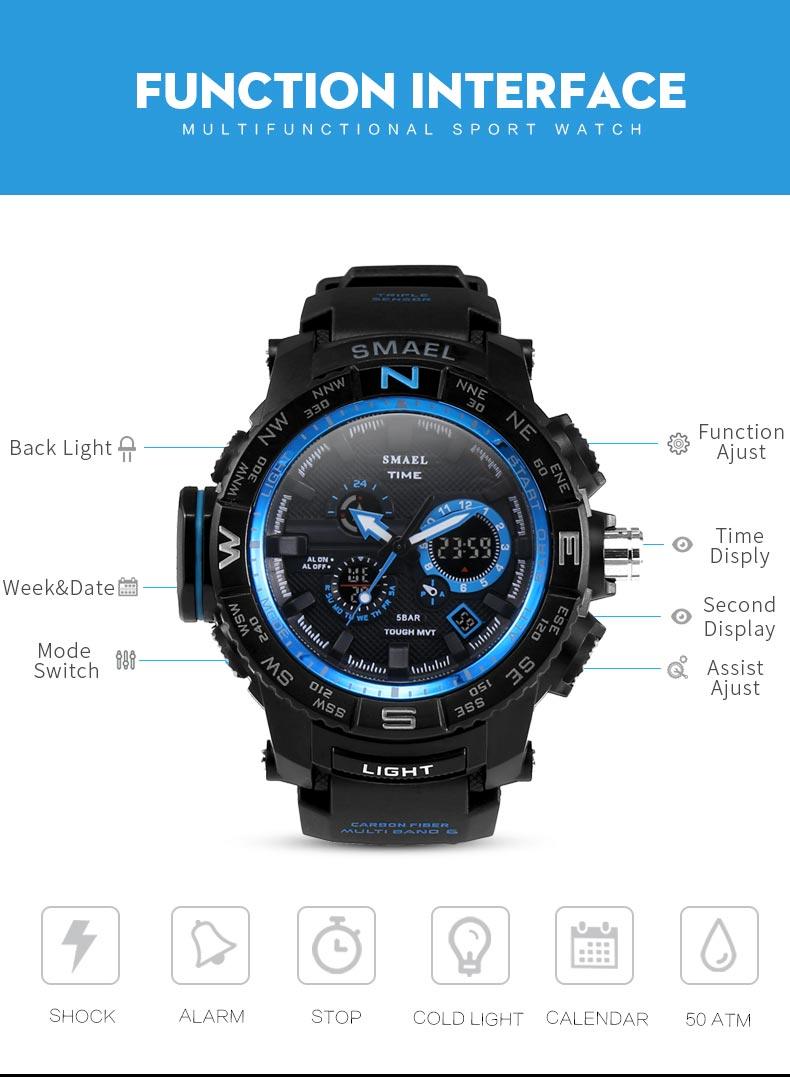 ee9a391a2ae Agora o novo preto fosco cor deste esporte relógios série acrescenta uma  seleção de relógios com um distintamente adulto caráter.Relógio led azul